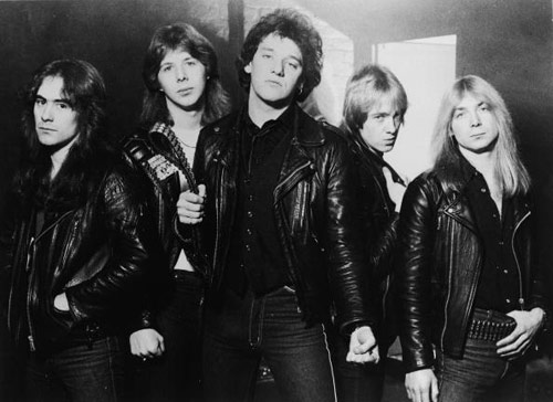 Promotional portrait of British heavy metal group, Iron Maiden, 1981: (L-R) Steve Harris, Clive Burr, Paul Di'Anno, Adrian Smith, and Dave Murray.