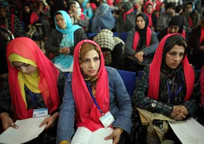 A file photo of Afghan women attending a ceremony to mark International Women's Day in 2010 in Herat, Afghanistan.