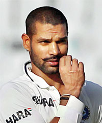Shikhar Dhawan is all attitude at the end of Day Three of the third Test against Australia in Chandigarh on Saturday.