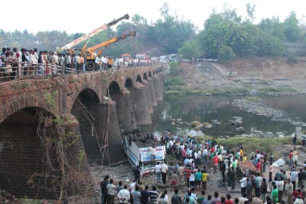 The driver of the bus, identified as Sambhaji Kirvat lost control of the vehicle and went on to break the safety grills of the bridge, resulting in the bus falling off the bridge, close to the river.