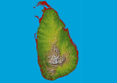 A topographical map of Sri Lanka