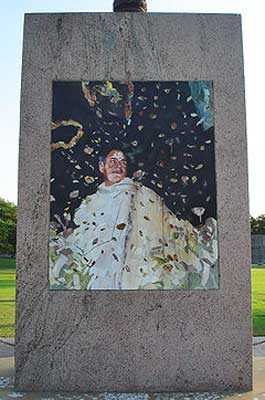 The stone mosaic that stands at the location where Rajiv Gandhi was assassinated in Sriperumbudur