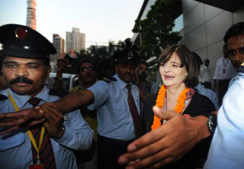Cherie Blair, the wife of former UK PM Tony Blair in Dhrangadhra