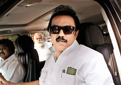 The raid at DMK treasurer MK Stalin's residence started around 6.30 am.