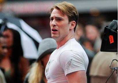Actor Chris Evans films a scene from <i>Captain America: The First Avenger</i> movie set in Times Square on April 23, 2011 in New York City.