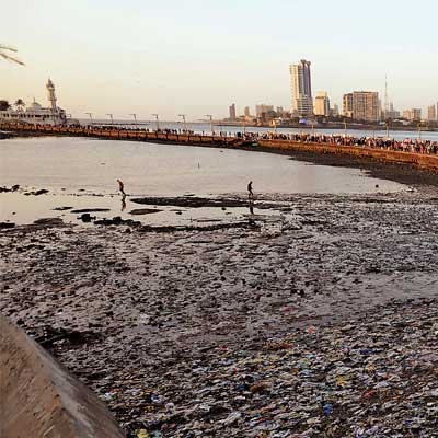 A garbage-covered stretch of the Haji Ali seashore on Monday.