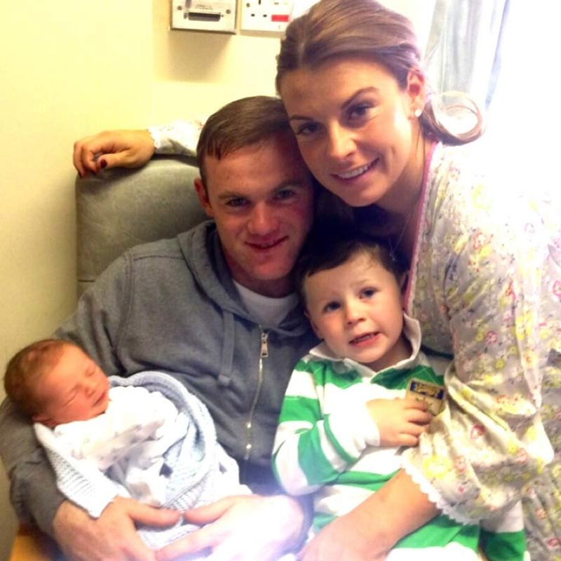 Wayne Rooney tweets picture of his happy family after birth of son Klay