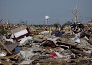 A powerful tornado ripped through an Oklahoma City on Monday