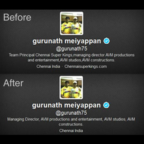 Gurunath Meiyappan's Twitter bio changed, CSK info removed but tweets still show links to team