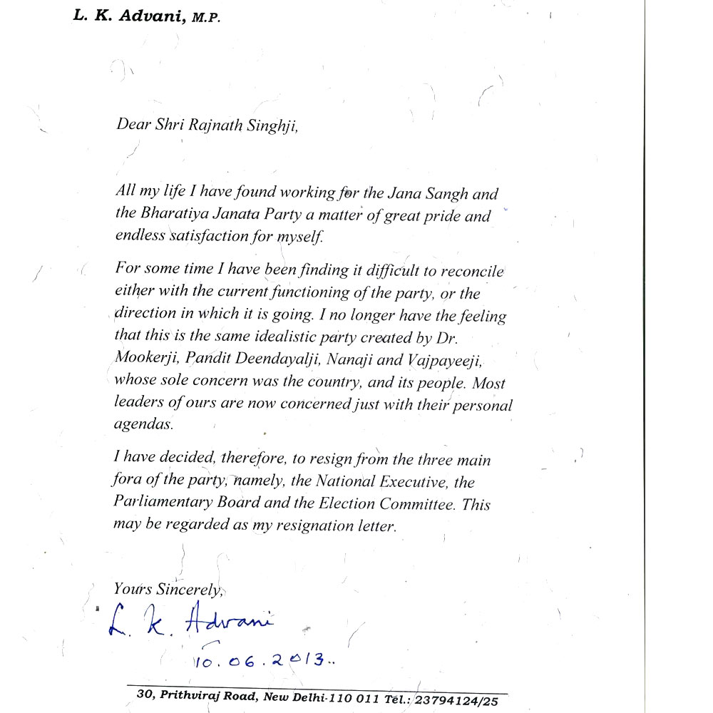 How lk advanis resignation letter highlights the great grand mess how lk advanis resignation letter highlights the great grand mess that the bjp is in expocarfo Gallery