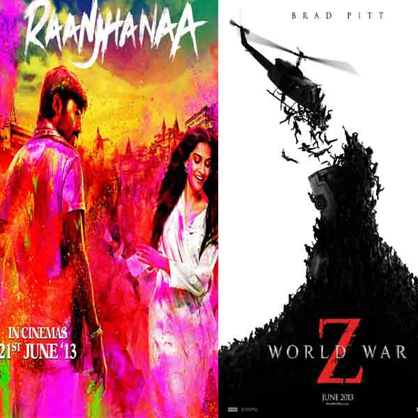 Movies this week: Raanjhaana, Shortcut Romeo, World War Z release on June 21