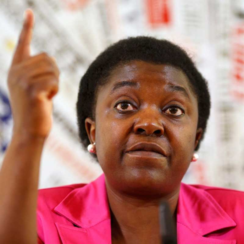 Italian Minister for Integration Cecile Kyenge gestures during a news conference in Rome.