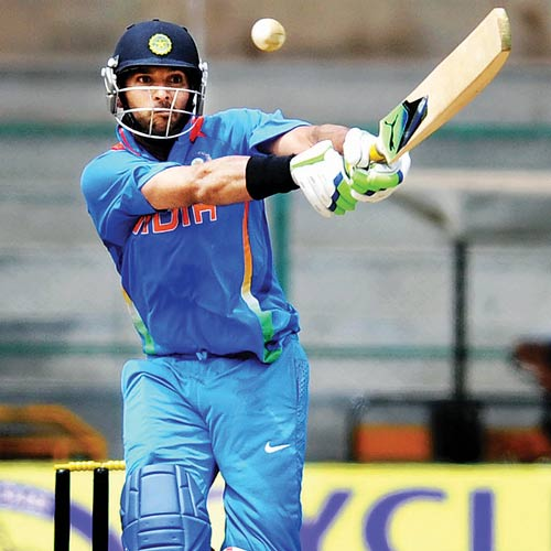 India 'A' skipper Yuvraj Singh in full flow during his  123-run knock against West Indies 'A' in Bangalore on Sunday.