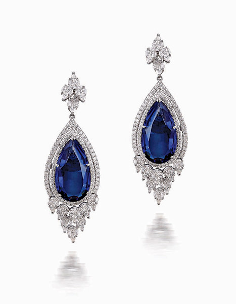 18k White Gold Earrings With Fine Cut Diamonds And Pear Shaped Semi Precious Blue Stones