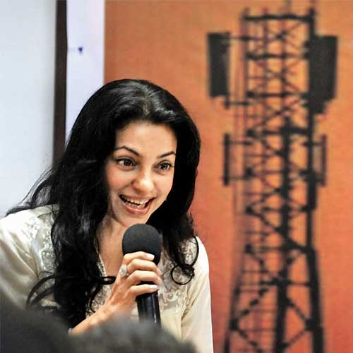 Actor and activist Juhi Chawla addresses the media at the Press Club on Thursday.