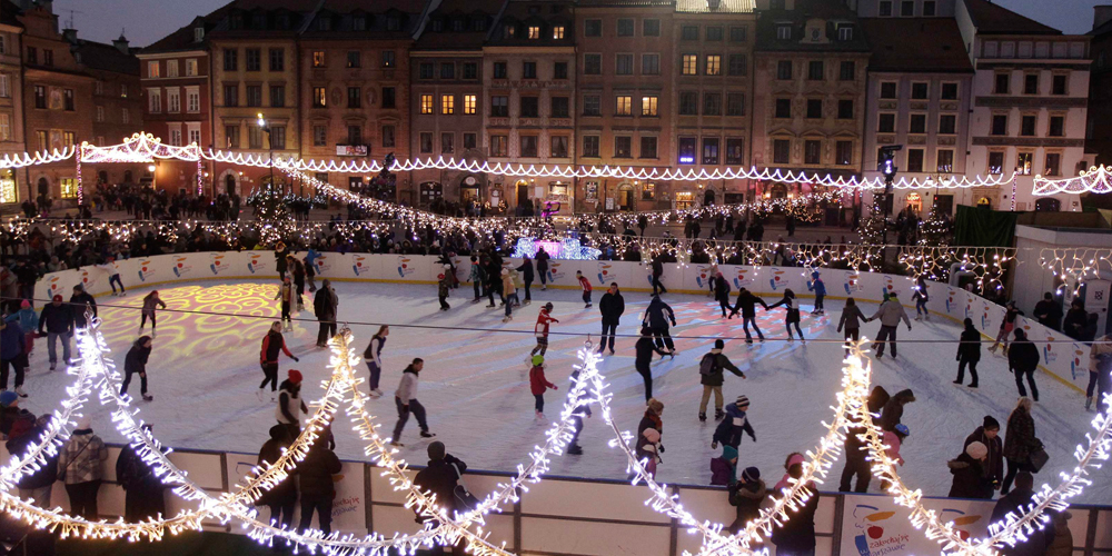 People Skate On New Year 39 S Day At An Ice Rink Set Up At