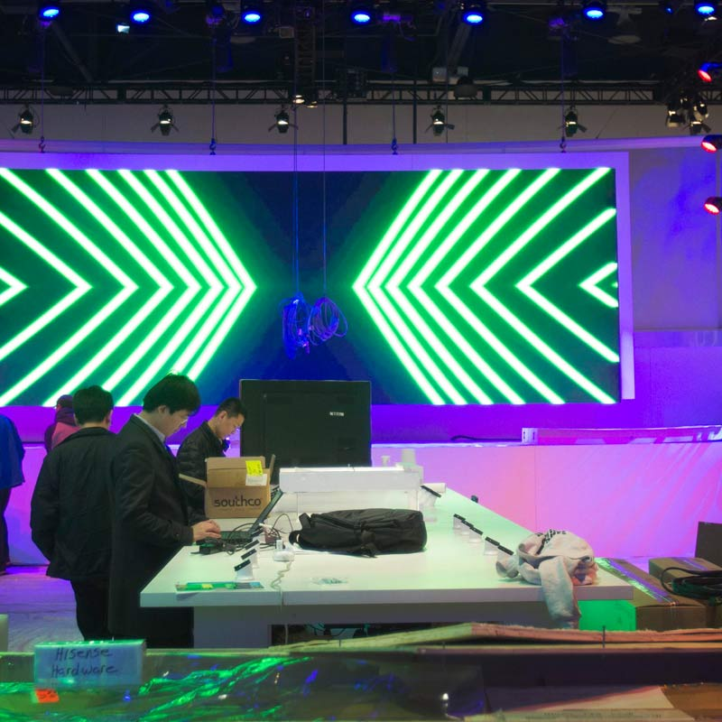 Preparations on for the 2014 Consumer Electronics Show (CES) at the Las Vegas Convention Center.