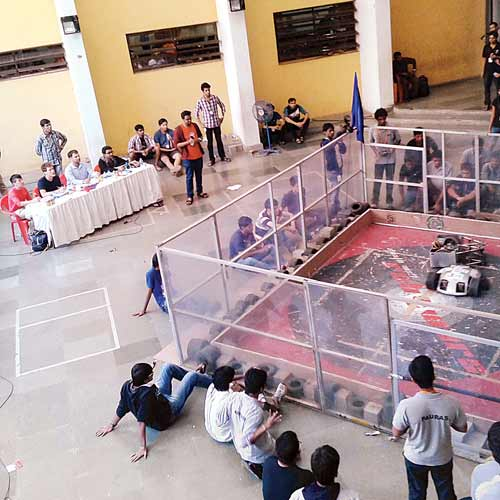 Robowar arena at the Techfest,IIT-B where the incident took place.