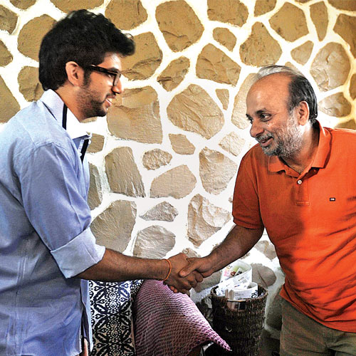 Yuva Sena chief Aaditya Thackeray meets Neeraj Hatekar at his Kalina house on Friday.