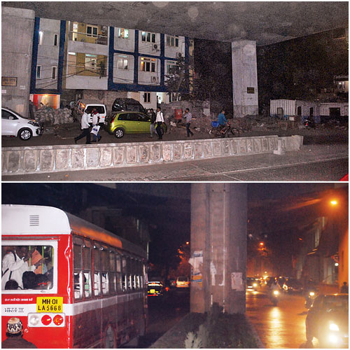 Areas under the monorail at Chembur Naka (top) and (below)Chembur station.