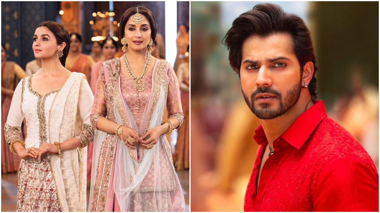 'Kalank' song 'Ghar More Pardesiya' stills: Madhuri-Alia's beauty, Varun's intense kohl-eyes will make you restless