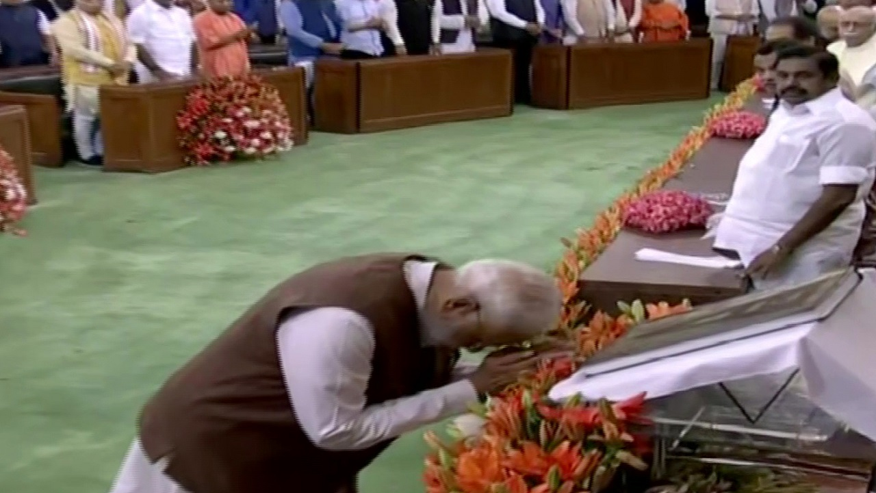 PM Modi bows down, this time before Constitution