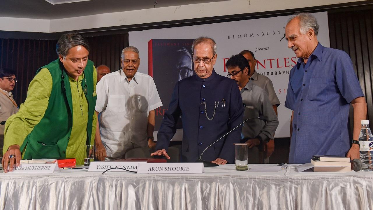 Pranab Mukherjee releases Yashwant Sinha's autobiography