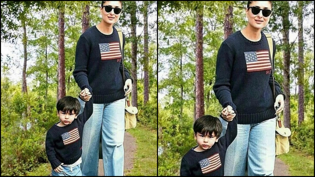 Kareena Kapoor Khan and Taimur Ali Khan twin in a black sweater and make for a cute mother-son duo