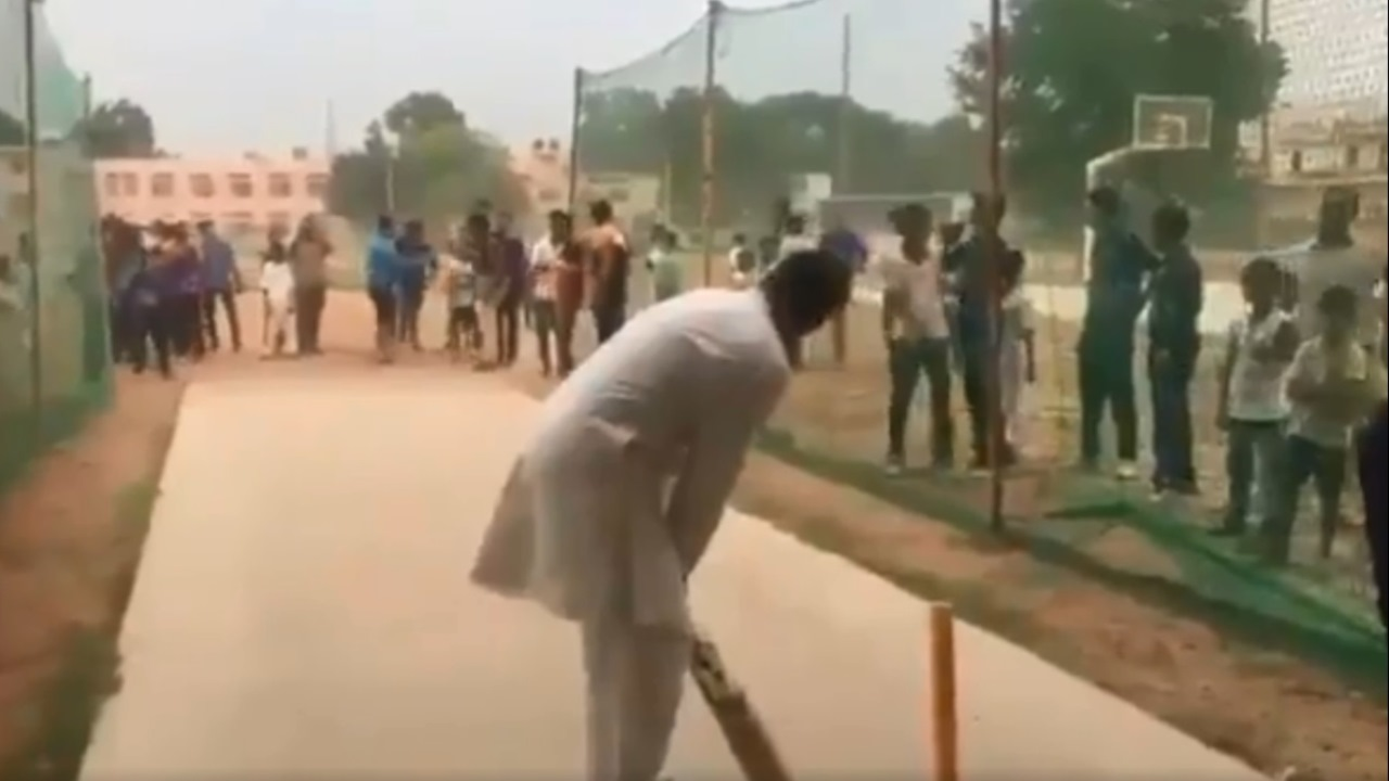 Watch: Rahul Gandhi plays cricket with students in Haryana after chopper makes emergency landing