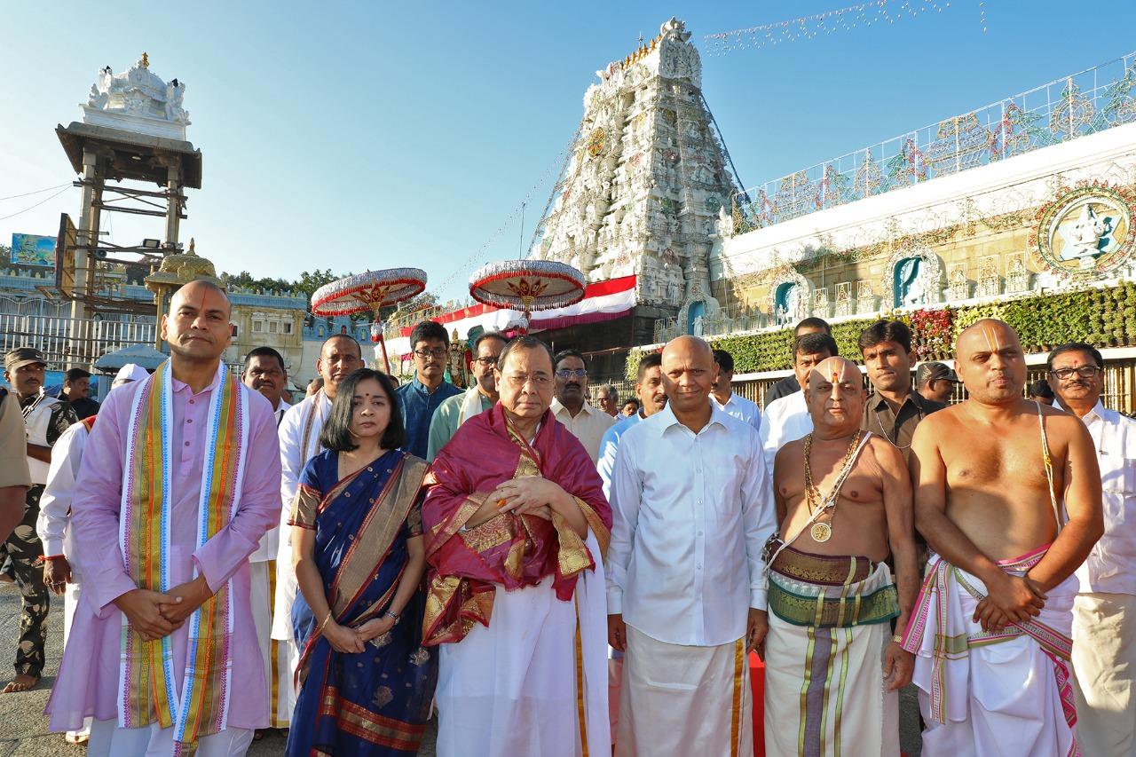 Outgoing CJI Ranjan Gogoi offers prayers at Tirumala Lord Balaji temple in Andhra Pradesh