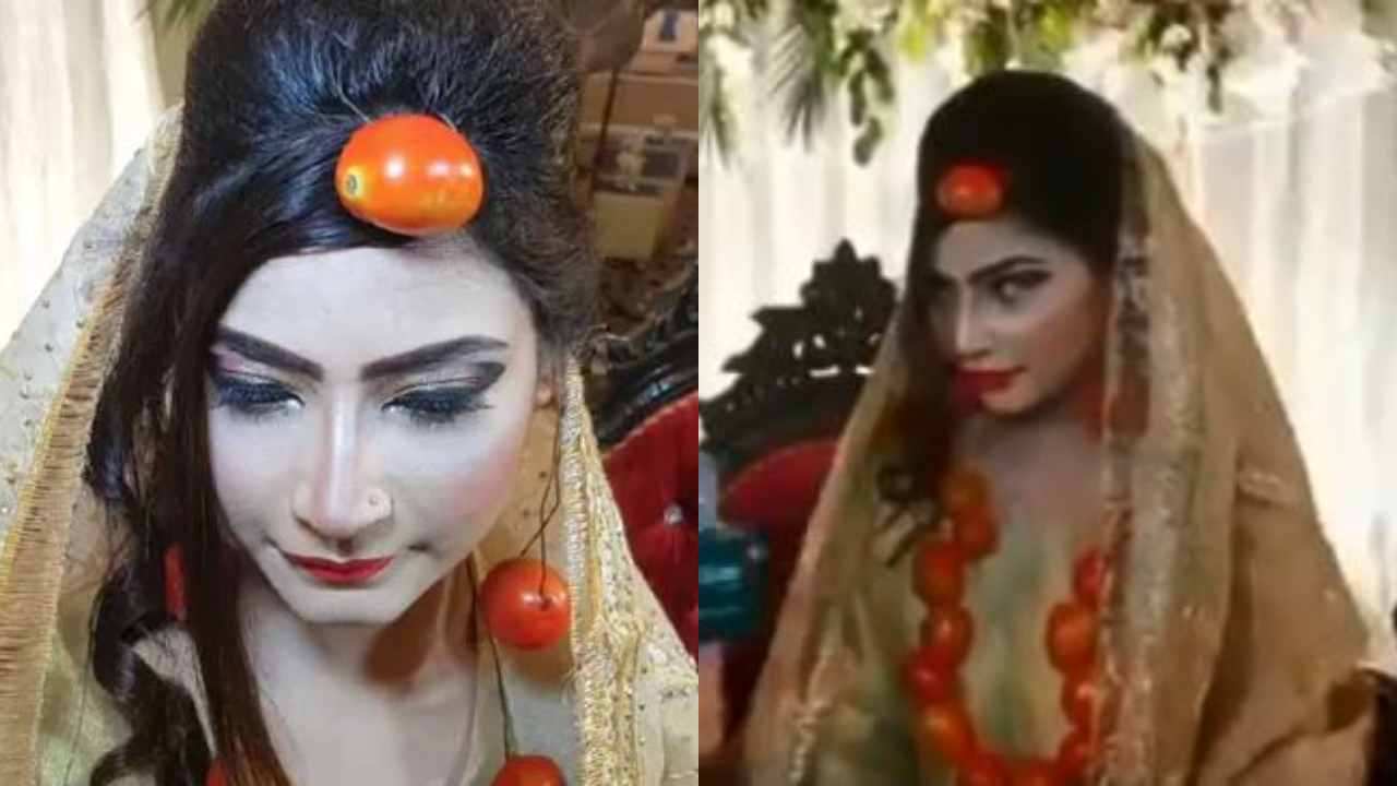 Pakistani bride wears jewellery made of tomatoes, leaves netizens baffled