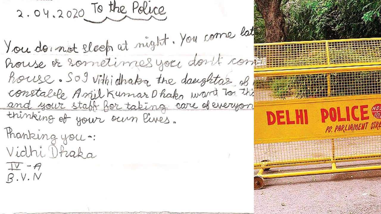 Class 4th girl thank Delhi police in heartwarming letter, wins the internet