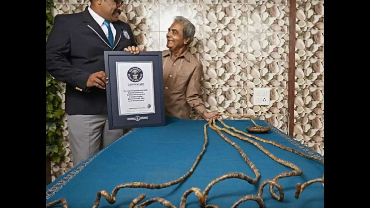 Man with world's longest nails gets them cut with a saw