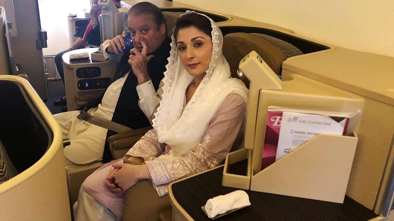 Image result for Former Pak PM Nawaz Sharif and his daughter arrested on arrival