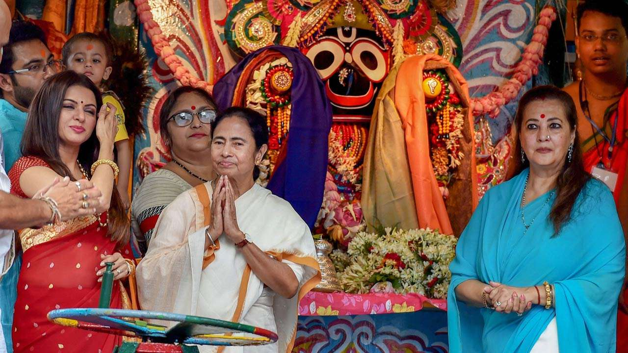 Image result for pics of mamata banerjee at ISKCON temple kolkata
