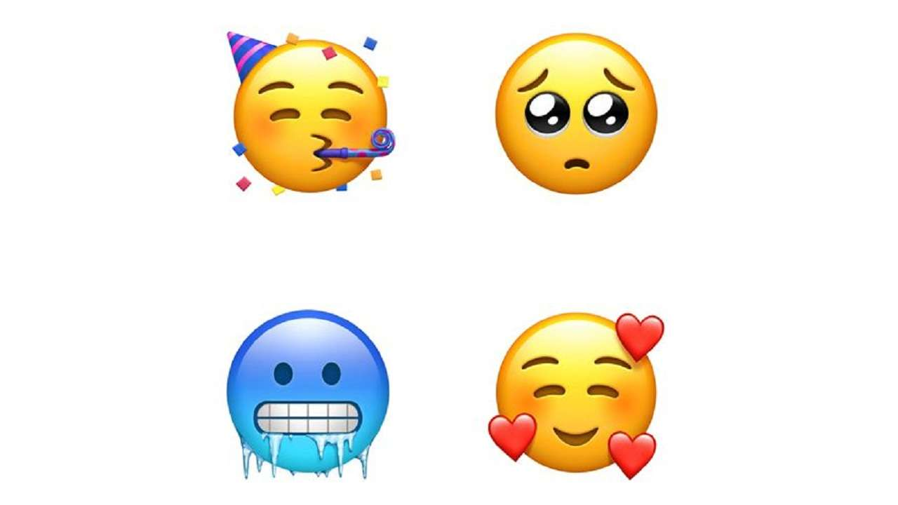New emojis include Party face Pleading face and Face with hearts