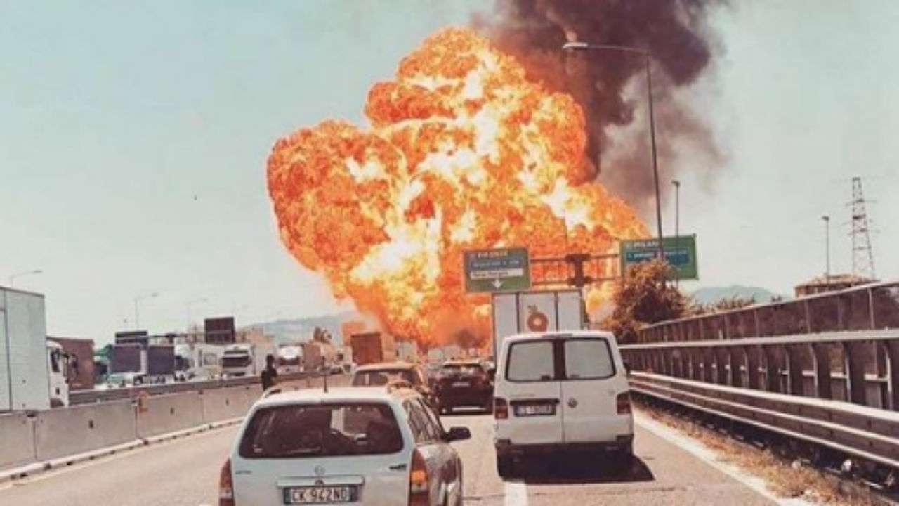 Road crash causes explosion, fire near Bologna airport