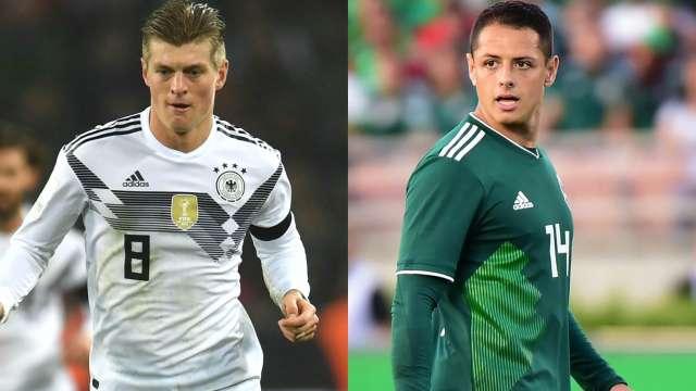 Germany's Toni Kroos (L) and Mexico's Javier Hernandez