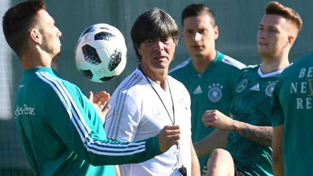 Joachim Loew (C) during a German training session ahead of their clash against Mexico on Sunday