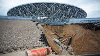 In a matter of days since World Cup final, landslide damages Russian stadiu...