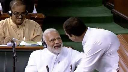 Rahul Gandhi hugging PM Modi